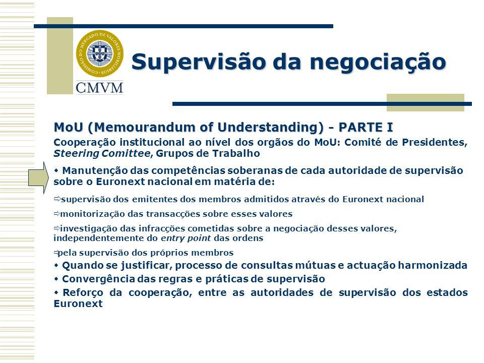 Supervisão da negociação MoU (Memourandum of Understanding) - PARTE I C Cooperação institucional ao nível dos orgãos do MoU: Comité de Presidentes, St