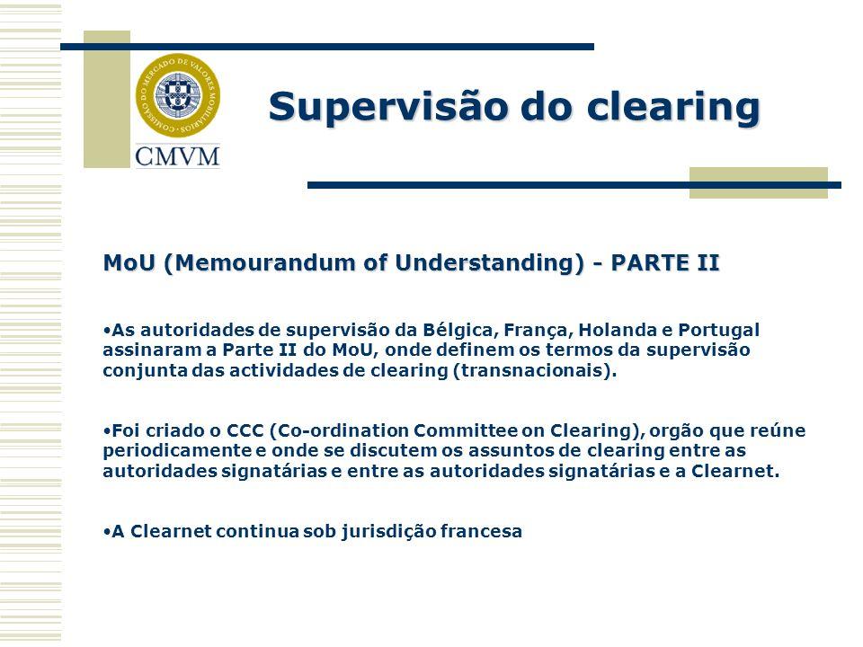 Supervisão do clearing MoU (Memourandum of Understanding) - PARTE II As autoridades de supervisão da Bélgica, França, Holanda e Portugal assinaram a P