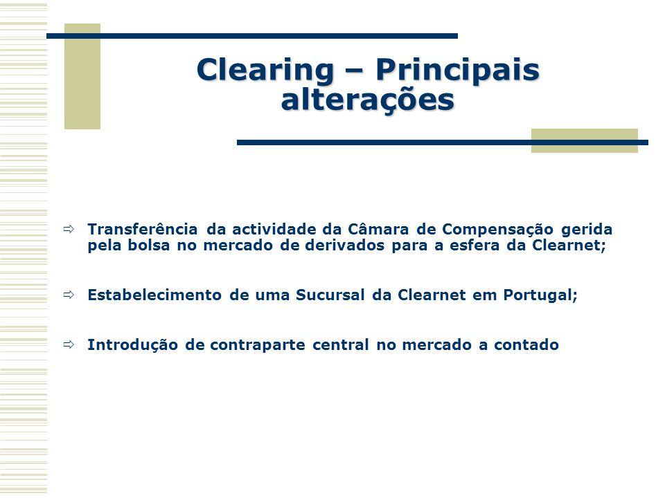 Clearing – Principais alterações Transferência da actividade da Câmara de Compensação gerida pela bolsa no mercado de derivados para a esfera da Clear