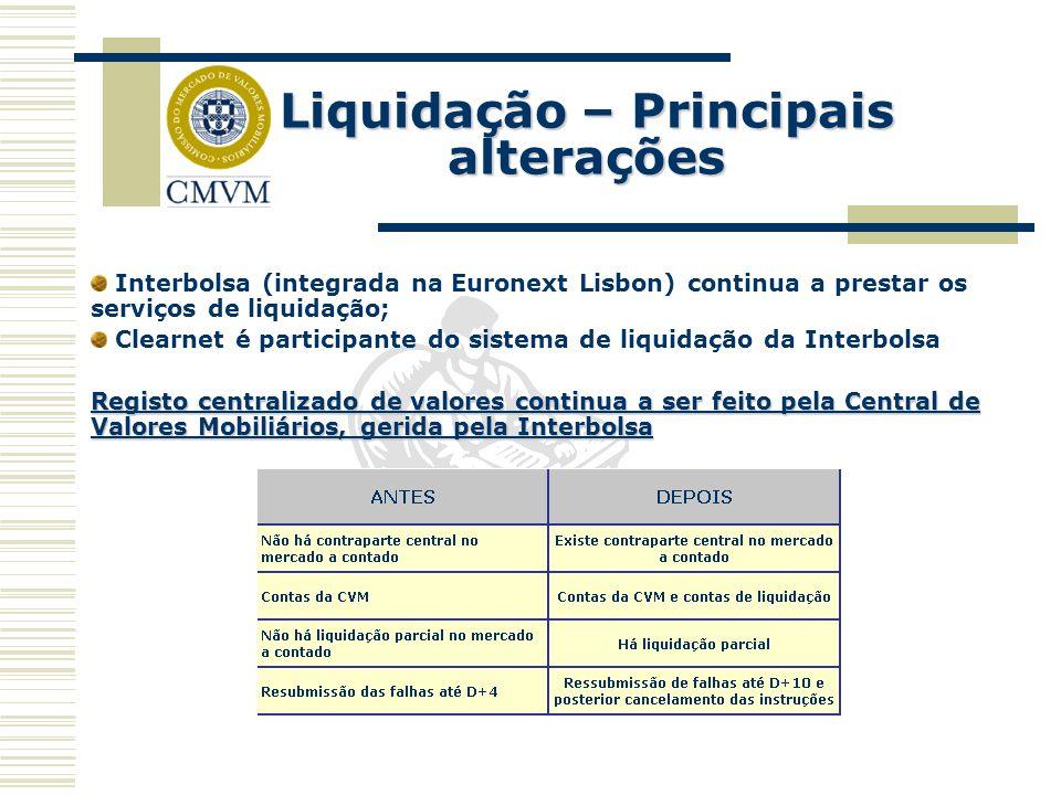 Liquidação – Principais alterações Interbolsa (integrada na Euronext Lisbon) continua a prestar os serviços de liquidação; Clearnet é participante do