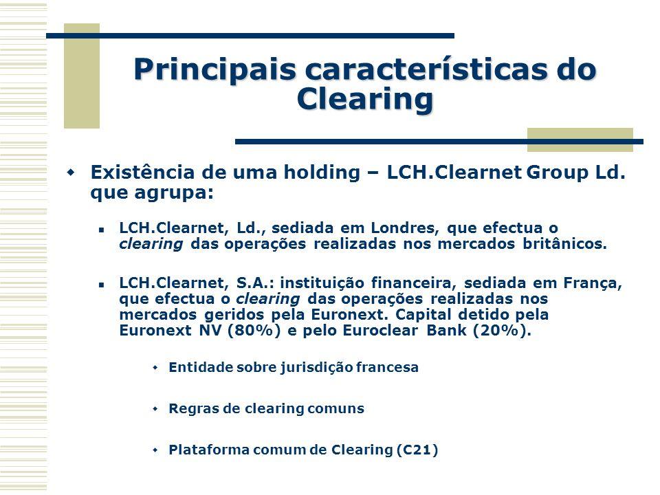 Principais características do Clearing Existência de uma holding – LCH.Clearnet Group Ld. que agrupa: LCH.Clearnet, Ld., sediada em Londres, que efect