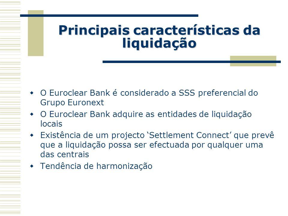 Principais características da liquidação O Euroclear Bank é considerado a SSS preferencial do Grupo Euronext O Euroclear Bank adquire as entidades de