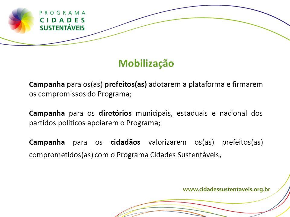 Mobilização Campanha para os(as) prefeitos(as) adotarem a plataforma e firmarem os compromissos do Programa; Campanha para os diretórios municipais, e