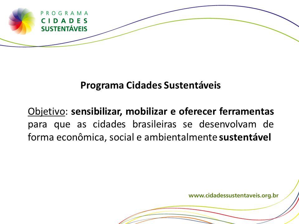 Programa Cidades Sustentáveis Objetivo: sensibilizar, mobilizar e oferecer ferramentas para que as cidades brasileiras se desenvolvam de forma econômi
