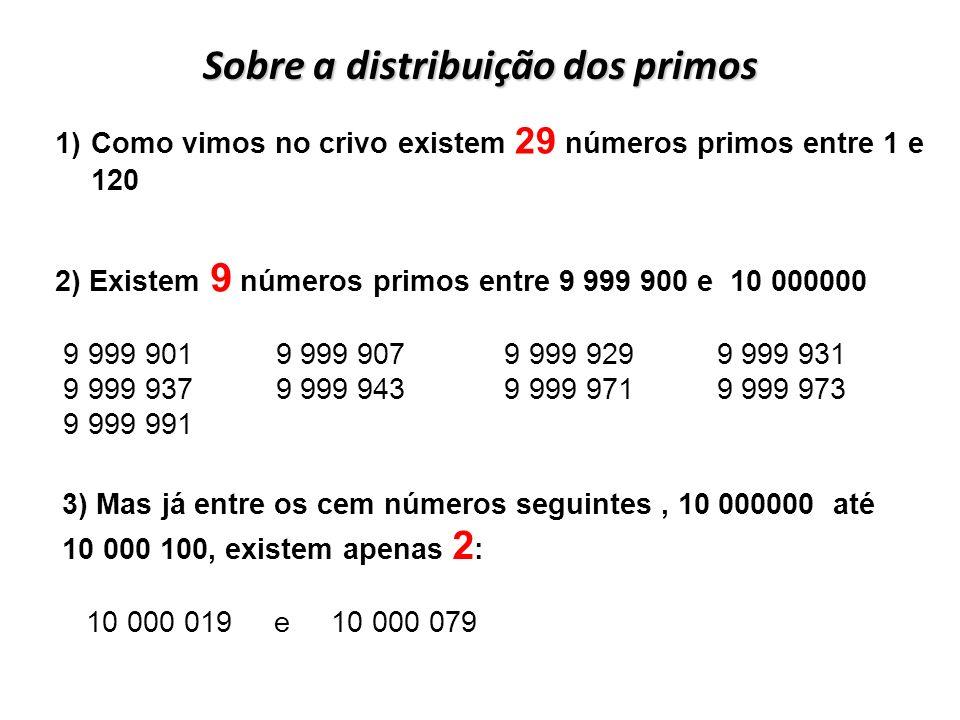 Sobre a distribuição dos primos 2) Existem 9 números primos entre 9 999 900 e 10 000000 9 999 901 9 999 907 9 999 929 9 999 931 9 999 937 9 999 943 9