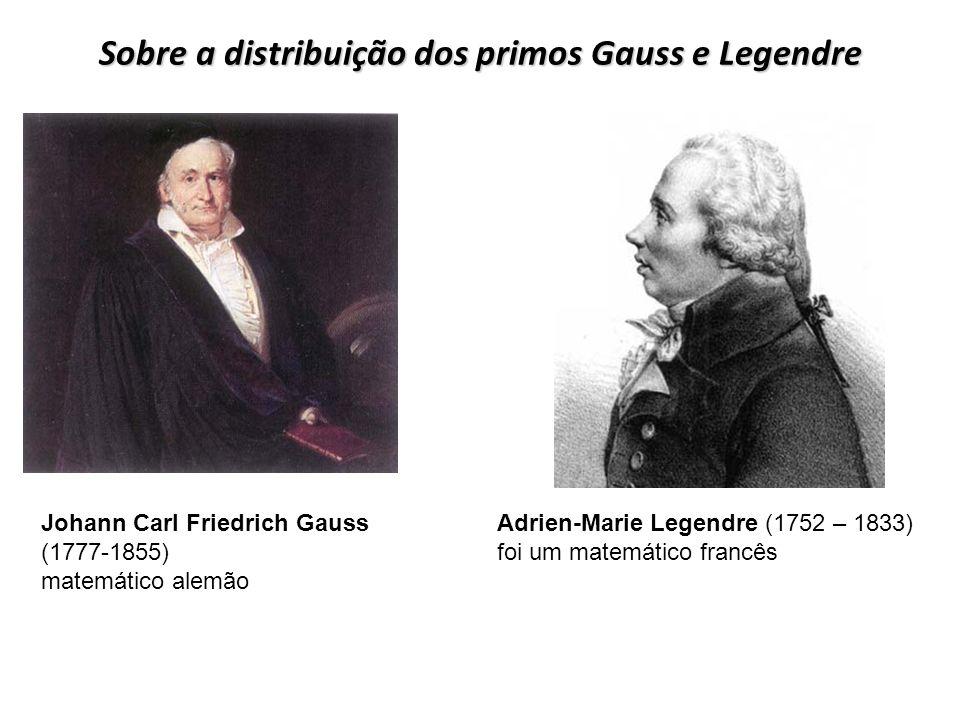 Sobre a distribuição dos primos Gauss e Legendre Adrien-Marie Legendre (1752 – 1833) foi um matemático francês Johann Carl Friedrich Gauss (1777-1855)