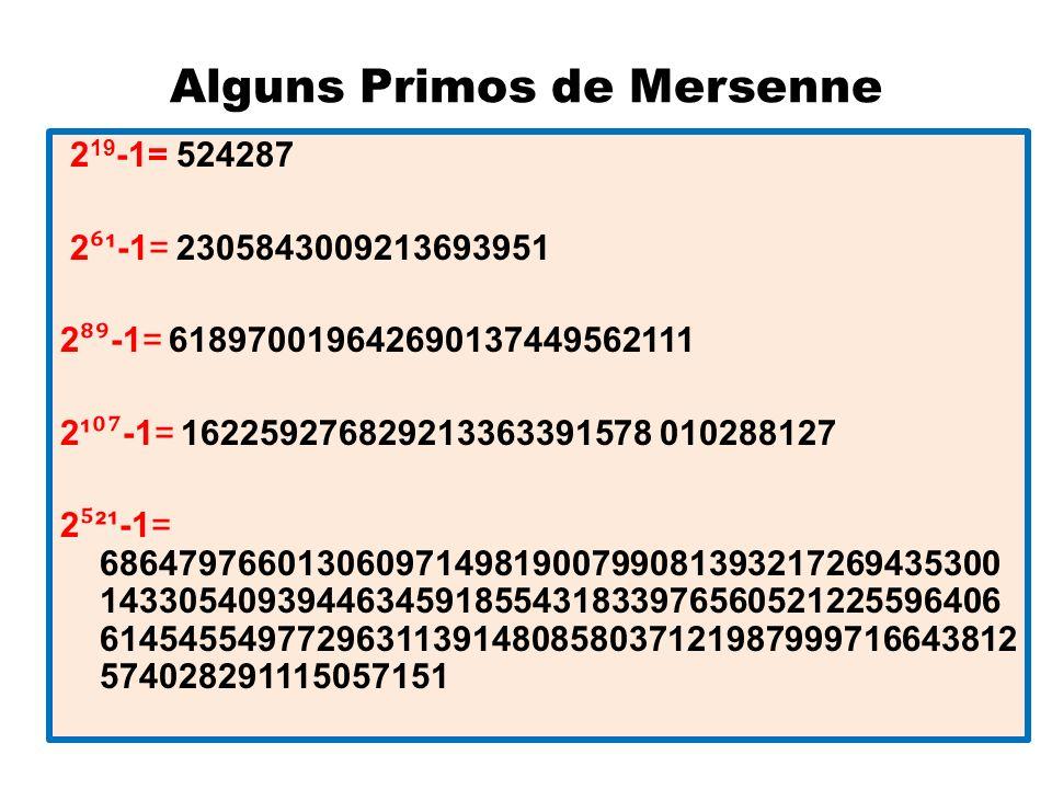 Alguns Primos de Mersenne 2 19 -1= 524287 2 ¹-1= 2305843009213693951 2 -1= 618970019642690137449562111 2¹ -1= 162259276829213363391578 010288127 2 ²¹-