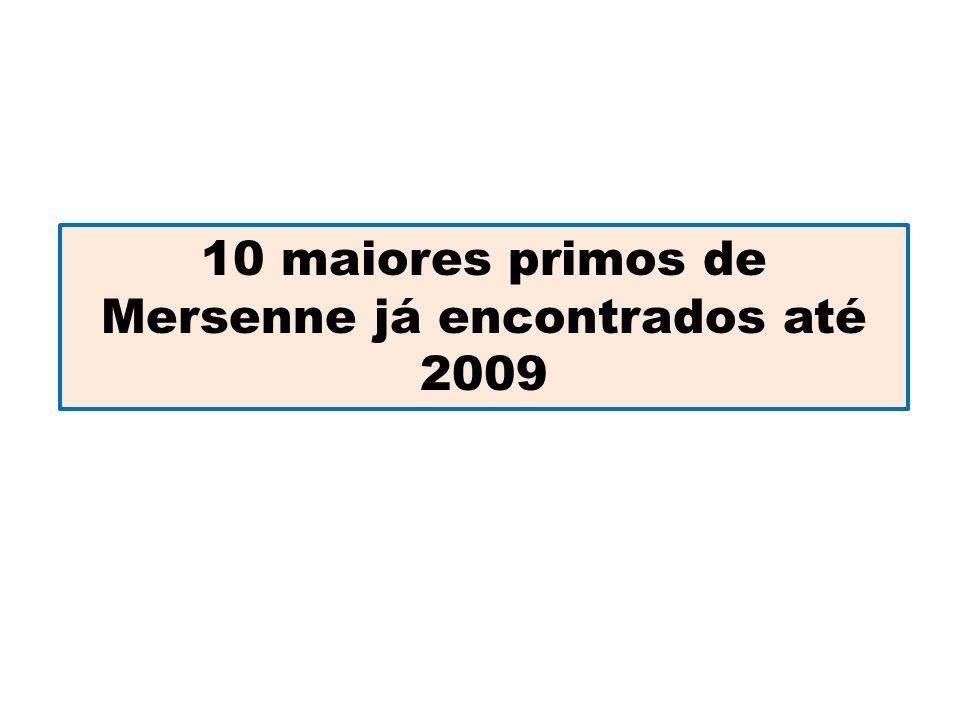 10 maiores primos de Mersenne já encontrados até 2009