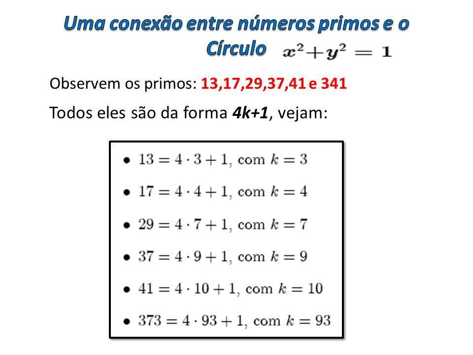 Observem os primos: 13,17,29,37,41 e 341 Todos eles são da forma 4k+1, vejam: