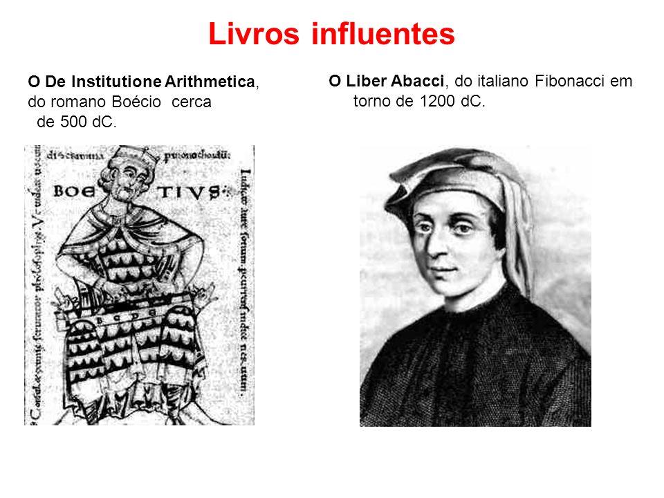 O De Institutione Arithmetica, do romano Boécio cerca de 500 dC. O Liber Abacci, do italiano Fibonacci em torno de 1200 dC. Livros influentes