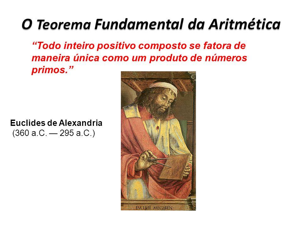 O Teorema Fundamental da Aritmética Todo inteiro positivo composto se fatora de maneira única como um produto de números primos. Euclides de Alexandri