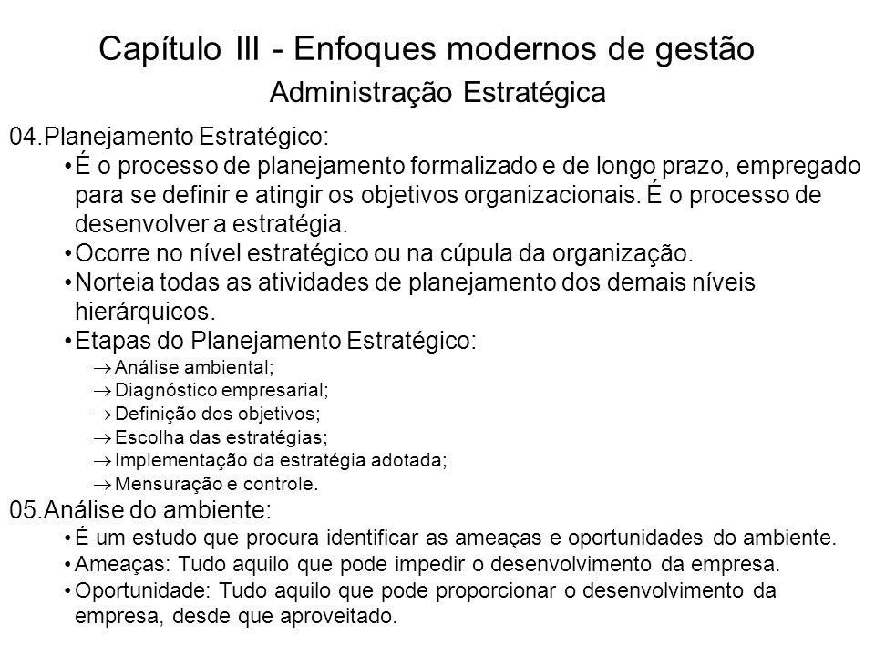 Capítulo III - Enfoques modernos de gestão Divisão do ambiente: Macro-Ambiente: Governo, ecologia, cultura, etc.