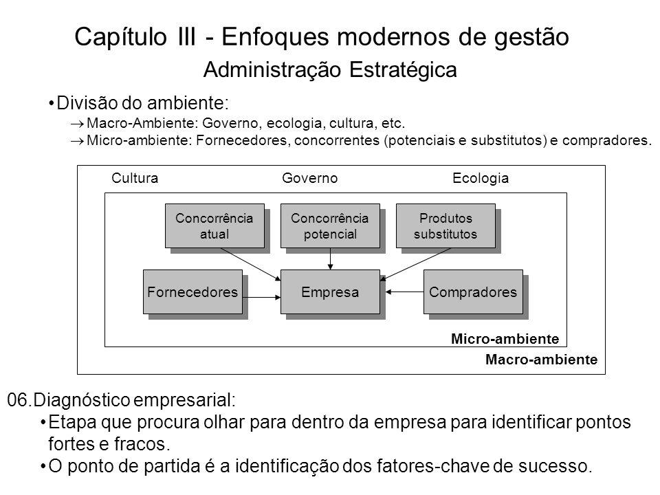 Capítulo III - Enfoques modernos de gestão 07.Definição de objetivos: De acordo com as análises ambiental e interna, define-se os objetivos.