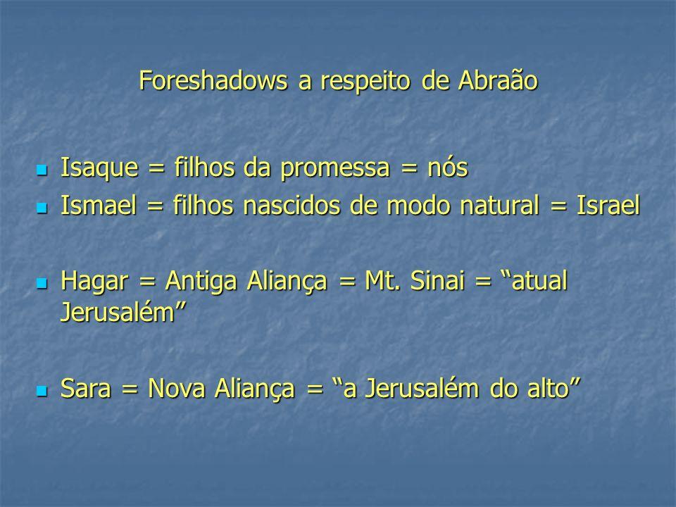 Foreshadows a respeito de Abraão Isaque = filhos da promessa = nós Isaque = filhos da promessa = nós Ismael = filhos nascidos de modo natural = Israel Ismael = filhos nascidos de modo natural = Israel Hagar = Antiga Aliança = Mt.