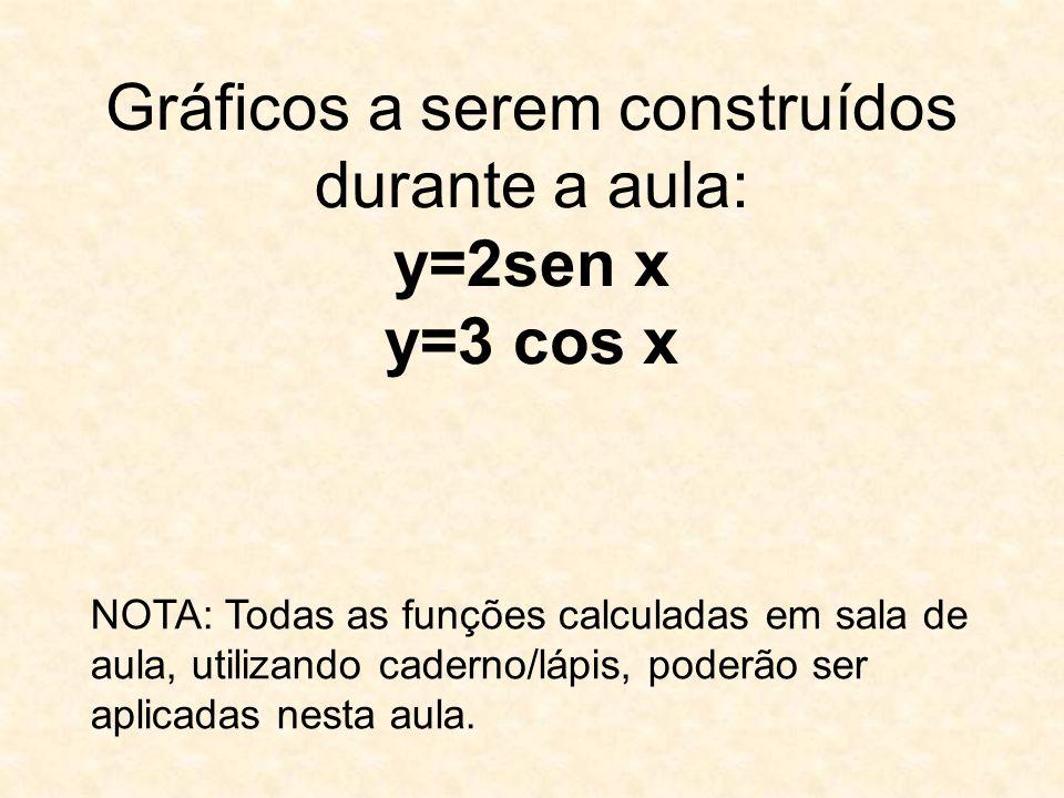 Gráficos a serem construídos durante a aula: y=2sen x y=3 cos x NOTA: Todas as funções calculadas em sala de aula, utilizando caderno/lápis, poderão ser aplicadas nesta aula.