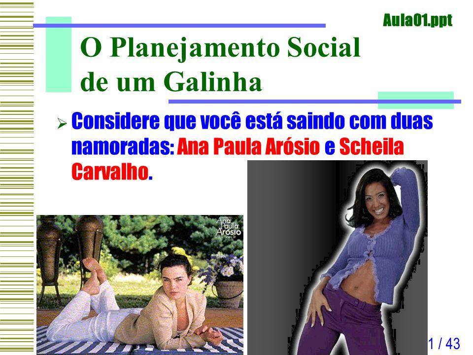 Aula01.ppt 1 / 43 O Planejamento Social de um Galinha Considere que você está saindo com duas namoradas: Ana Paula Arósio e Scheila Carvalho.