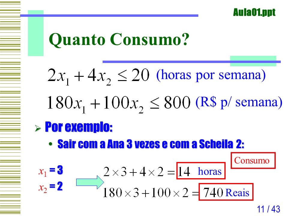 Aula01.ppt 11 / 43 Quanto Consumo? Por exemplo: Por exemplo: Sair com a Ana 3 vezes e com a Scheila 2:Sair com a Ana 3 vezes e com a Scheila 2: = 3 x