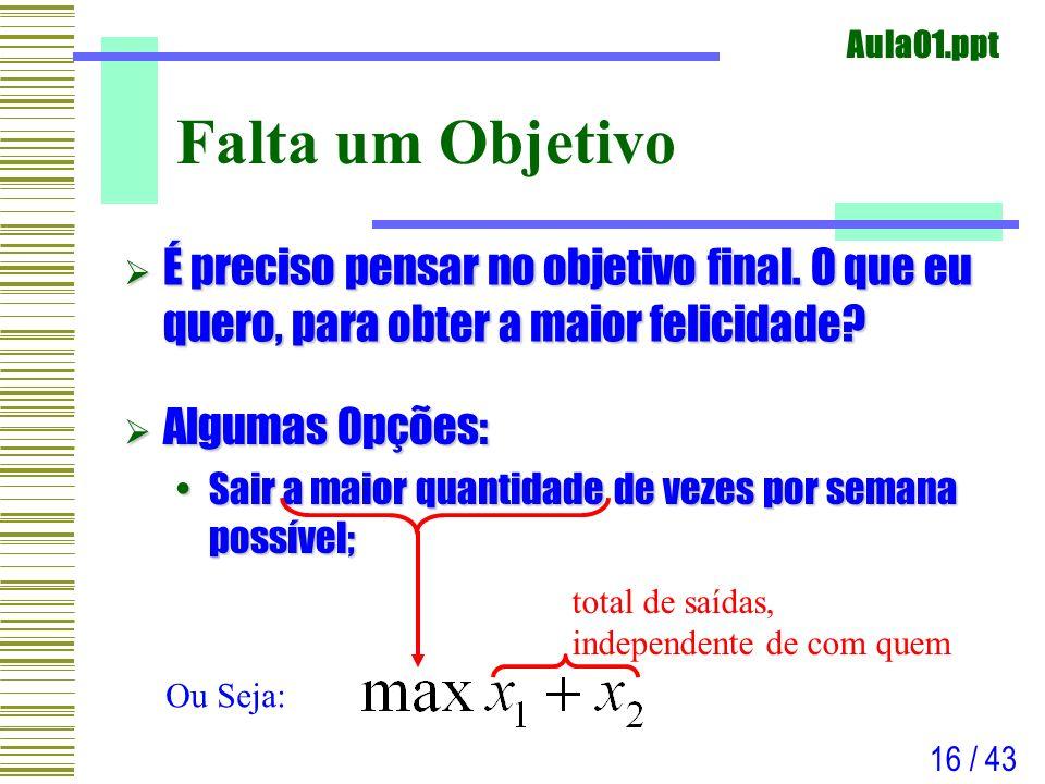 Aula01.ppt 16 / 43 Falta um Objetivo É preciso pensar no objetivo final. O que eu quero, para obter a maior felicidade? É preciso pensar no objetivo f