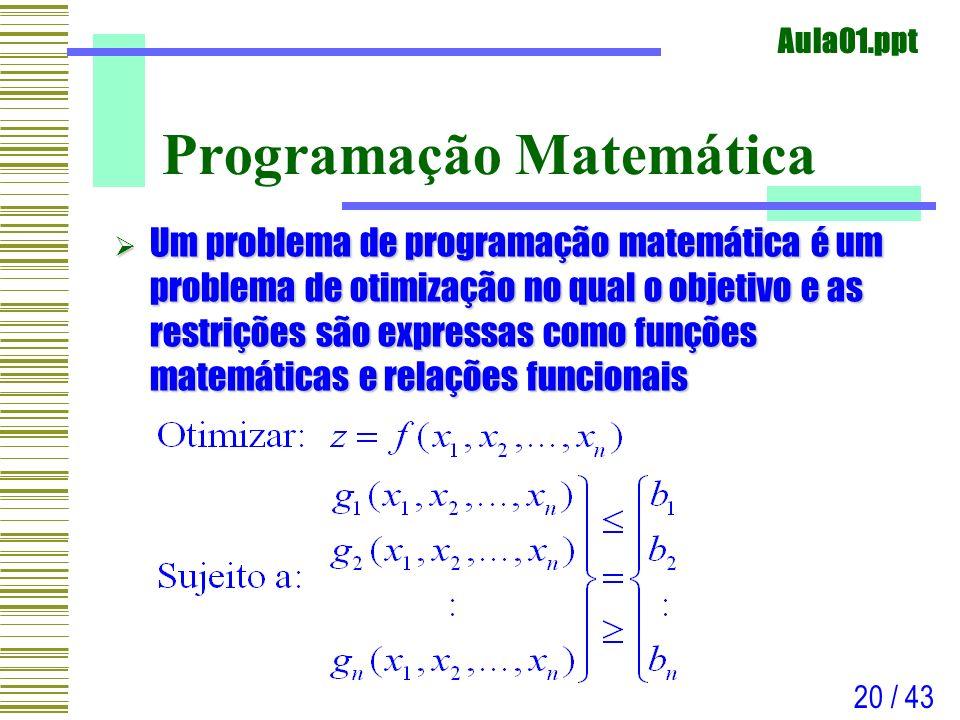 Aula01.ppt 20 / 43 Programação Matemática Um problema de programação matemática é um problema de otimização no qual o objetivo e as restrições são exp