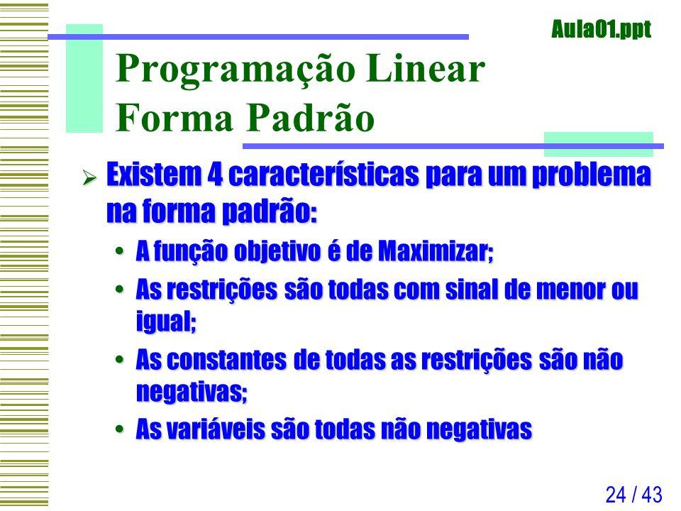 Aula01.ppt 24 / 43 Programação Linear Forma Padrão Existem 4 características para um problema na forma padrão: Existem 4 características para um probl
