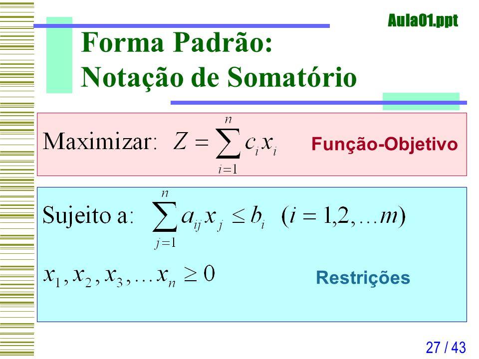 Aula01.ppt 27 / 43 Forma Padrão: Notação de Somatório Função-Objetivo Restrições