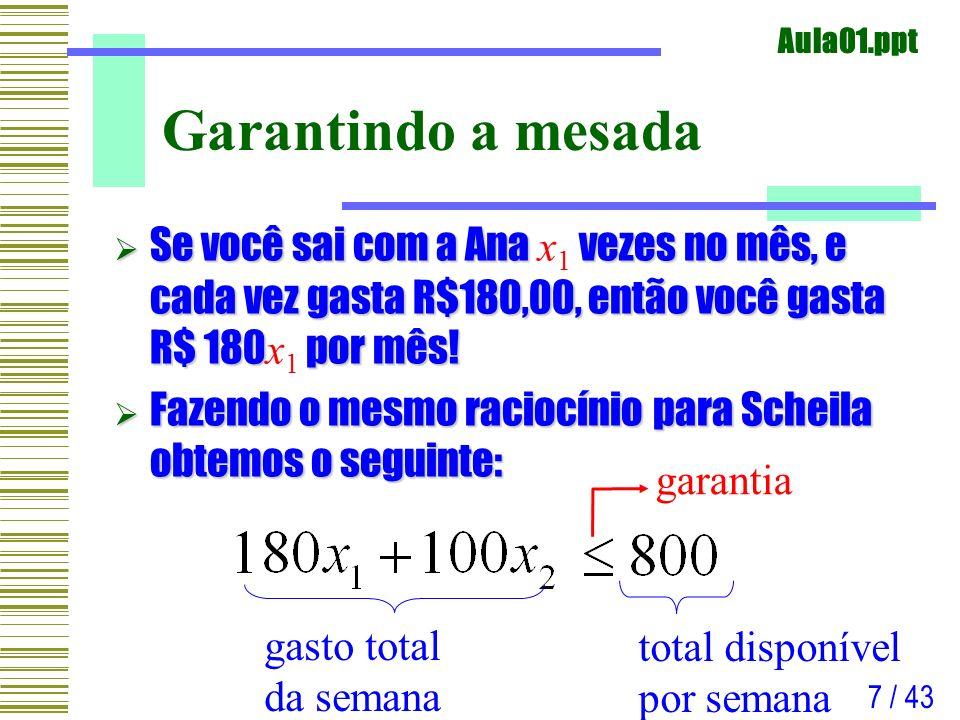 Aula01.ppt 8 / 43 Problemas com o relógio As diferenças entre as duas não são apenas no volume de gastos: Scheila é muito agitada.