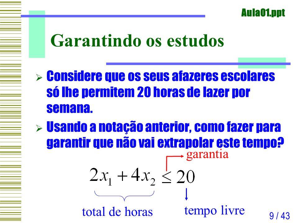 Aula01.ppt 20 / 43 Programação Matemática Um problema de programação matemática é um problema de otimização no qual o objetivo e as restrições são expressas como funções matemáticas e relações funcionais Um problema de programação matemática é um problema de otimização no qual o objetivo e as restrições são expressas como funções matemáticas e relações funcionais