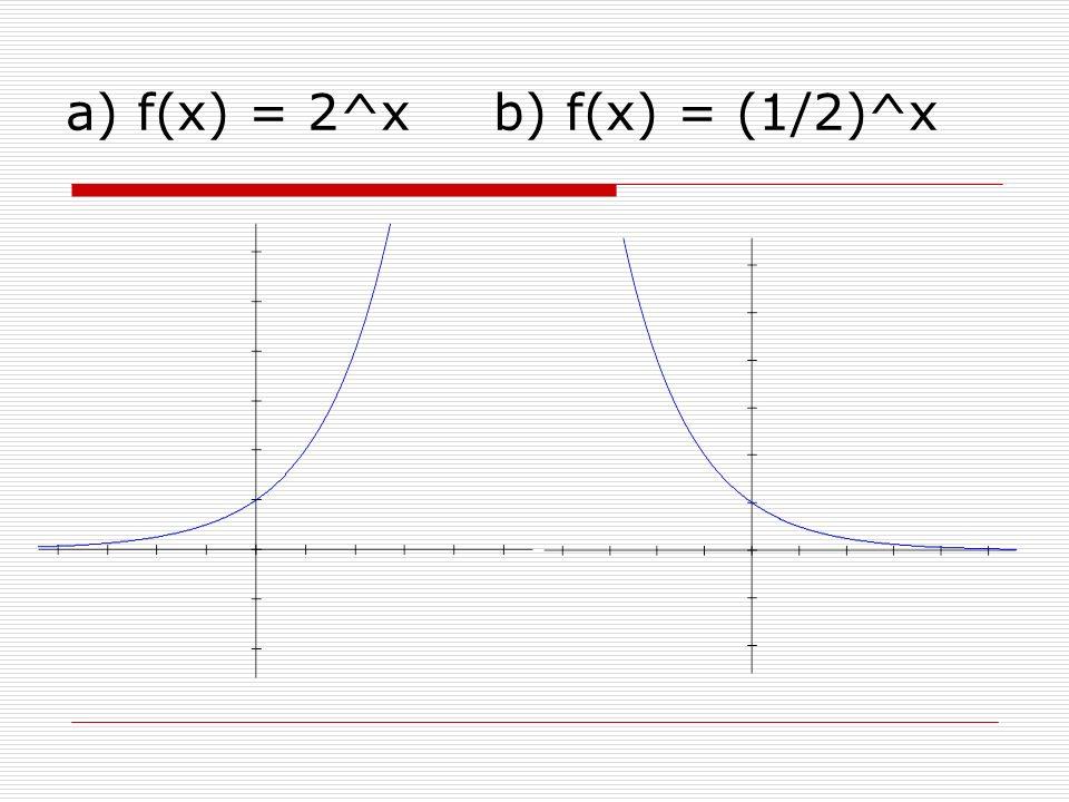 a) f(x) = 2^xb) f(x) = (1/2)^x
