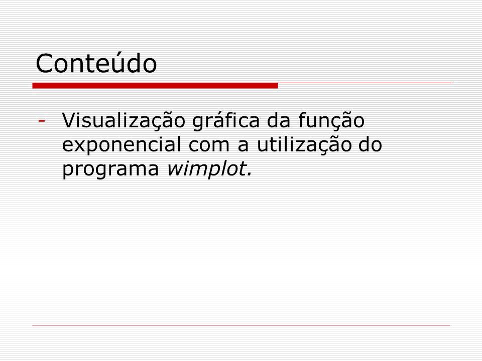 Conteúdo -Visualização gráfica da função exponencial com a utilização do programa wimplot.