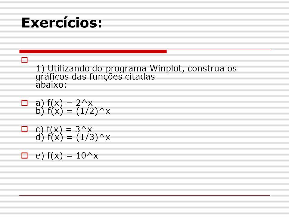 Exercícios: 1) Utilizando do programa Winplot, construa os gráficos das funções citadas abaixo: a) f(x) = 2^x b) f(x) = (1/2)^x c) f(x) = 3^x d) f(x)