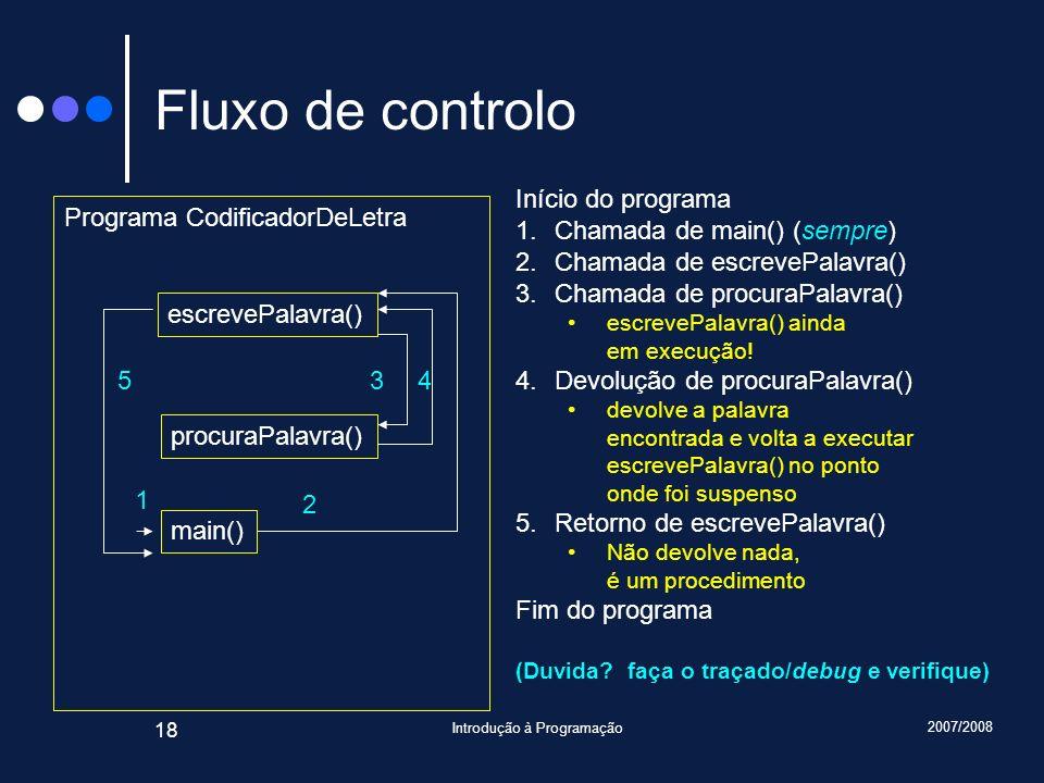 2007/2008 Introdução à Programação 18 Fluxo de controlo Programa CodificadorDeLetra escrevePalavra() procuraPalavra() main() 1 2 345 Início do program