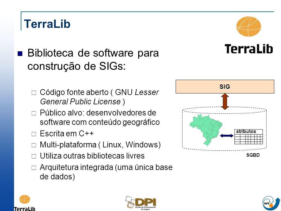 TerraLib Biblioteca de software para construção de SIGs: Código fonte aberto ( GNU Lesser General Public License ) Público alvo: desenvolvedores de so