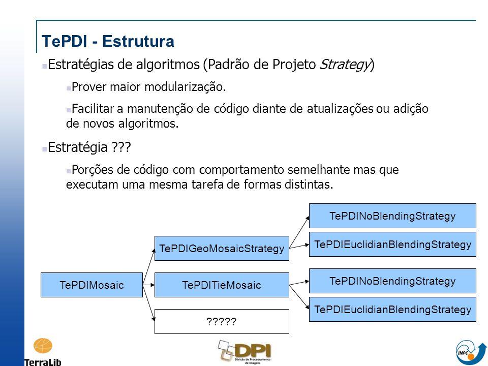 TePDI - Estrutura Estratégias de algoritmos (Padrão de Projeto Strategy) Prover maior modularização. Facilitar a manutenção de código diante de atuali