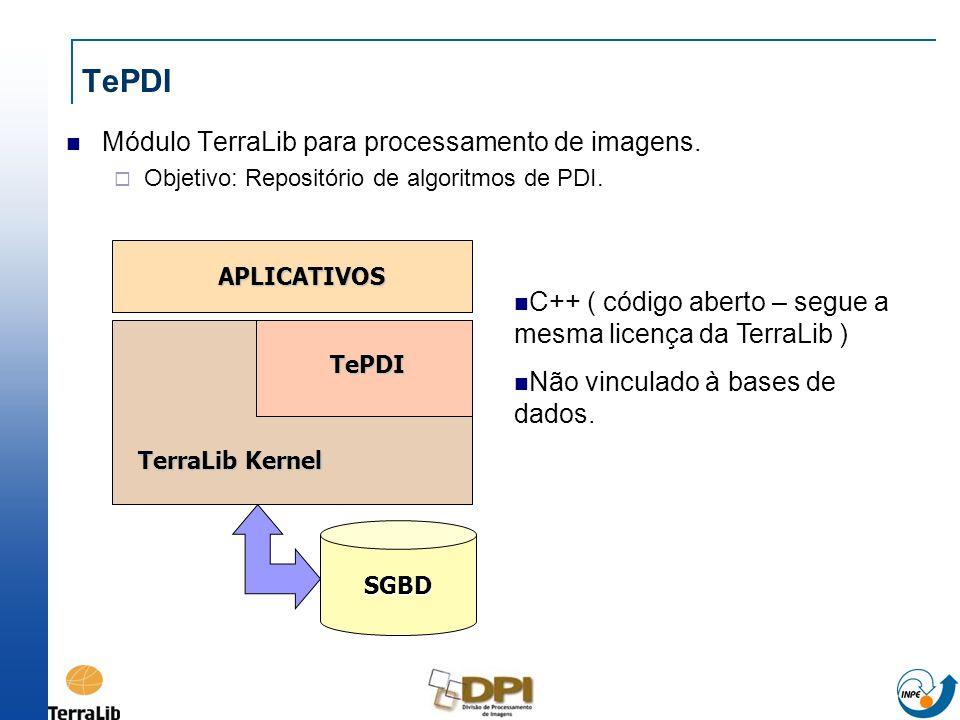 TePDI Módulo TerraLib para processamento de imagens. Objetivo: Repositório de algoritmos de PDI. SGBD TerraLib Kernel APLICATIVOS TePDI C++ ( código a