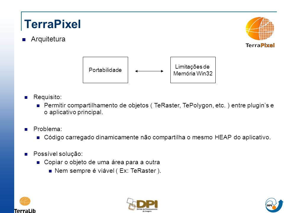 TerraPixel Arquitetura Requisito: Permitir compartilhamento de objetos ( TeRaster, TePolygon, etc. ) entre plugins e o aplicativo principal. Problema:
