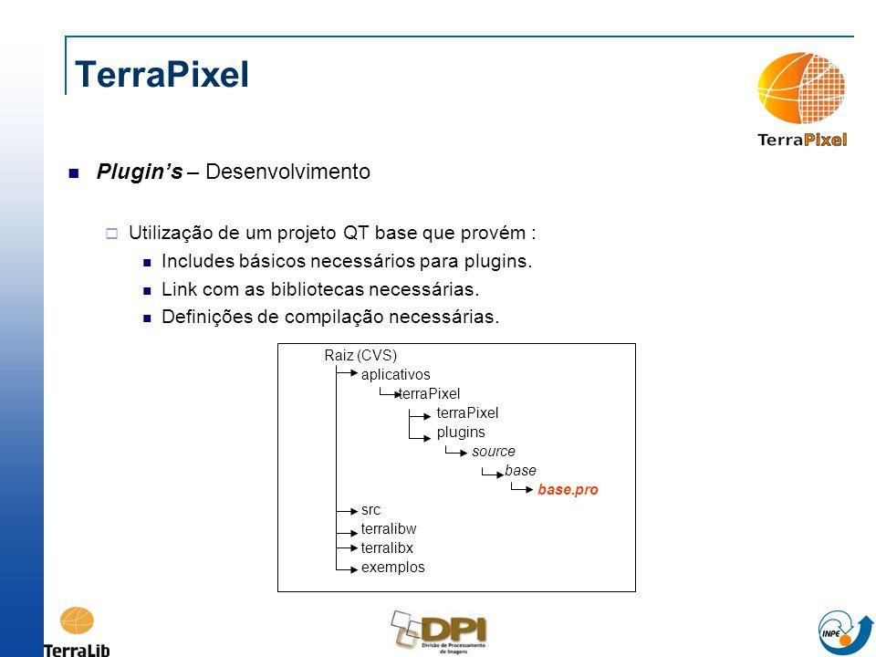 TerraPixel Plugins – Desenvolvimento Utilização de um projeto QT base que provém : Includes básicos necessários para plugins. Link com as bibliotecas
