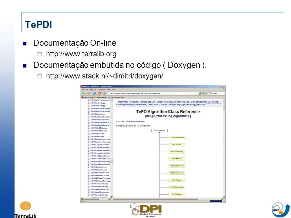 TePDI Documentação On-line http://www.terralib.org Documentação embutida no código ( Doxygen ). http://www.stack.nl/~dimitri/doxygen/