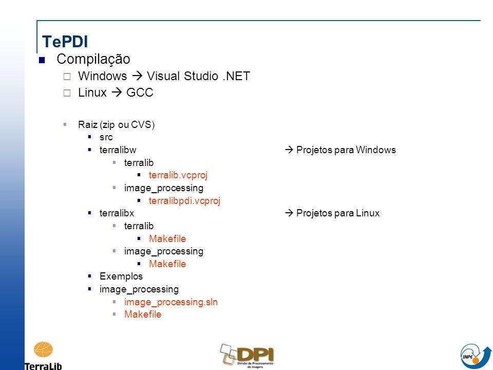 Compilação Windows Visual Studio.NET Linux GCC Raiz (zip ou CVS) src terralibw Projetos para Windows terralib terralib.vcproj image_processing terrali
