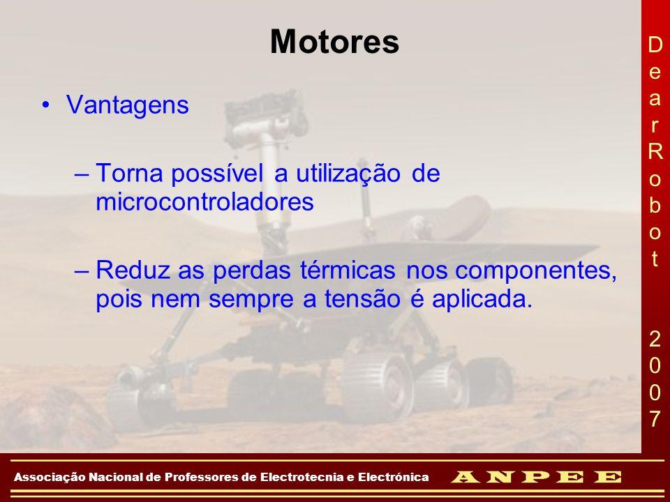 DearRobot 2007DearRobot 2007 Associação Nacional de Professores de Electrotecnia e Electrónica Motores Vantagens –Torna possível a utilização de micro