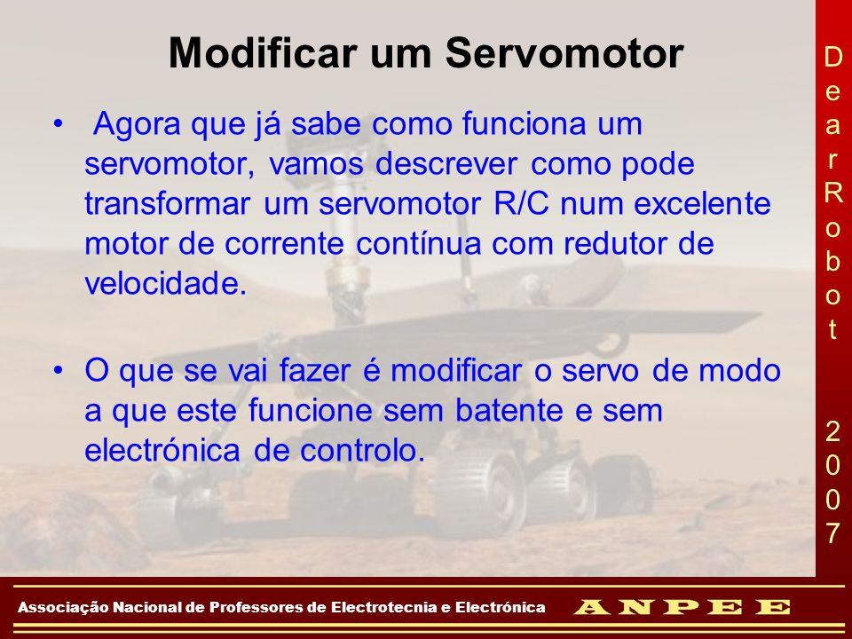 DearRobot 2007DearRobot 2007 Associação Nacional de Professores de Electrotecnia e Electrónica Modificar um Servomotor Agora que já sabe como funciona