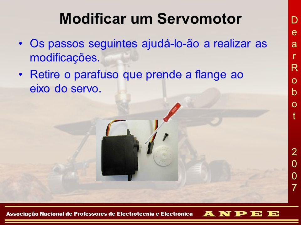 DearRobot 2007DearRobot 2007 Associação Nacional de Professores de Electrotecnia e Electrónica Modificar um Servomotor Os passos seguintes ajudá-lo-ão