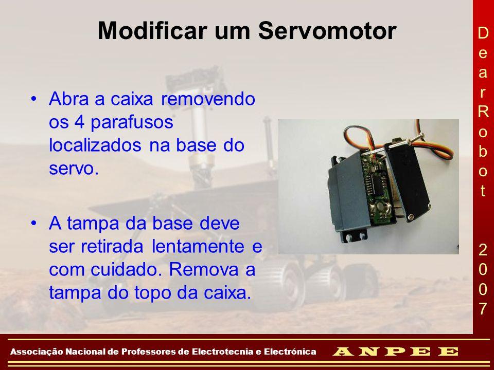 DearRobot 2007DearRobot 2007 Associação Nacional de Professores de Electrotecnia e Electrónica Modificar um Servomotor Abra a caixa removendo os 4 par