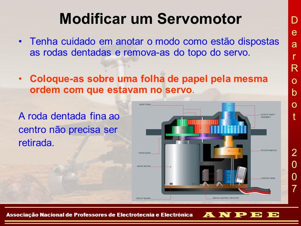 DearRobot 2007DearRobot 2007 Associação Nacional de Professores de Electrotecnia e Electrónica Modificar um Servomotor Tenha cuidado em anotar o modo