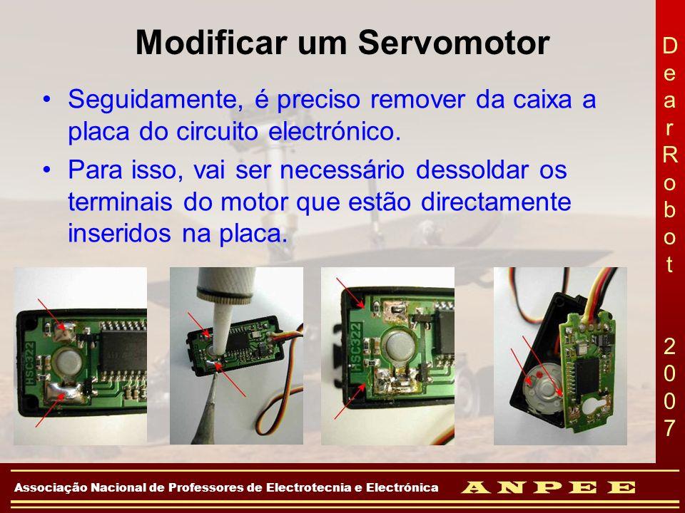 DearRobot 2007DearRobot 2007 Associação Nacional de Professores de Electrotecnia e Electrónica Modificar um Servomotor Seguidamente, é preciso remover