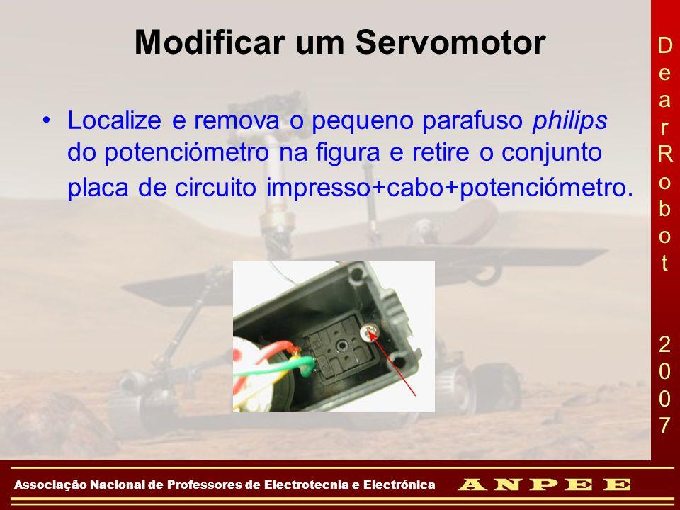 DearRobot 2007DearRobot 2007 Associação Nacional de Professores de Electrotecnia e Electrónica Modificar um Servomotor Localize e remova o pequeno par