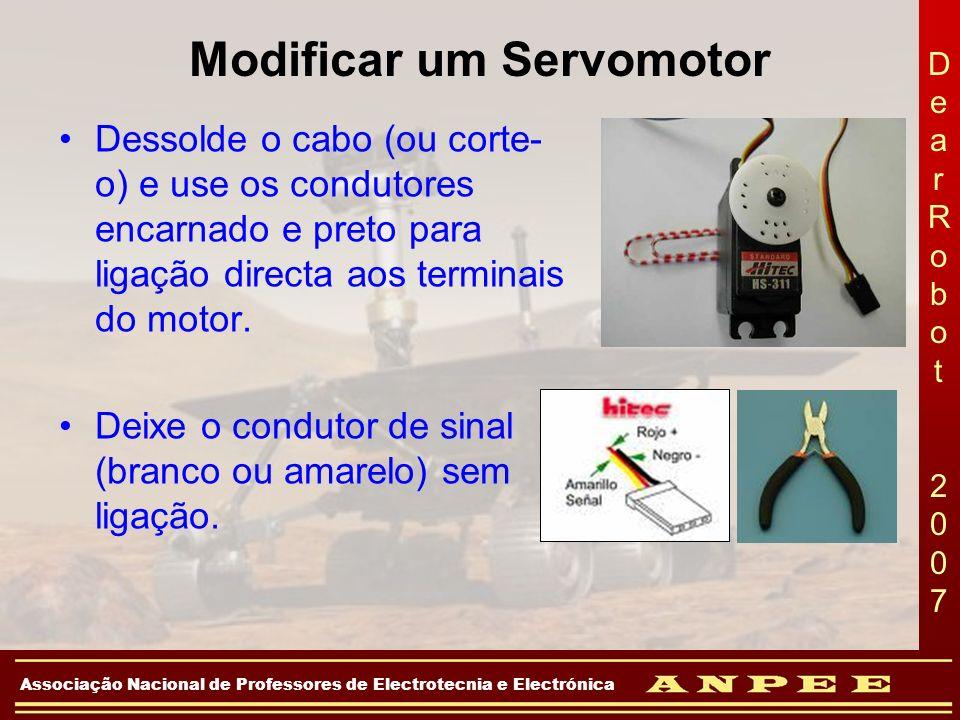 DearRobot 2007DearRobot 2007 Associação Nacional de Professores de Electrotecnia e Electrónica Modificar um Servomotor Dessolde o cabo (ou corte- o) e