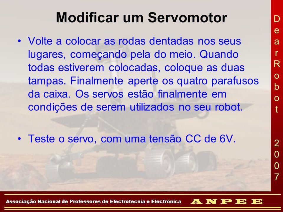 DearRobot 2007DearRobot 2007 Associação Nacional de Professores de Electrotecnia e Electrónica Modificar um Servomotor Volte a colocar as rodas dentad