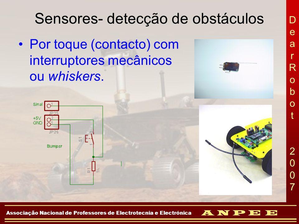 DearRobot 2007DearRobot 2007 Associação Nacional de Professores de Electrotecnia e Electrónica Sensores- detecção de obstáculos Por toque (contacto) c