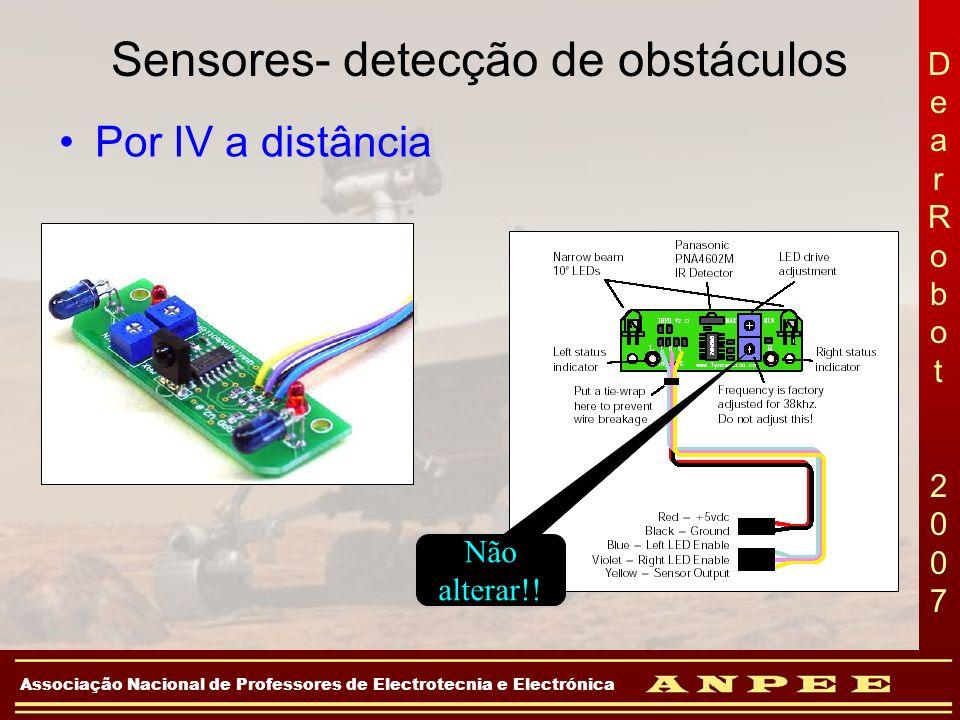 DearRobot 2007DearRobot 2007 Associação Nacional de Professores de Electrotecnia e Electrónica Sensores- detecção de obstáculos Por IV a distância Não
