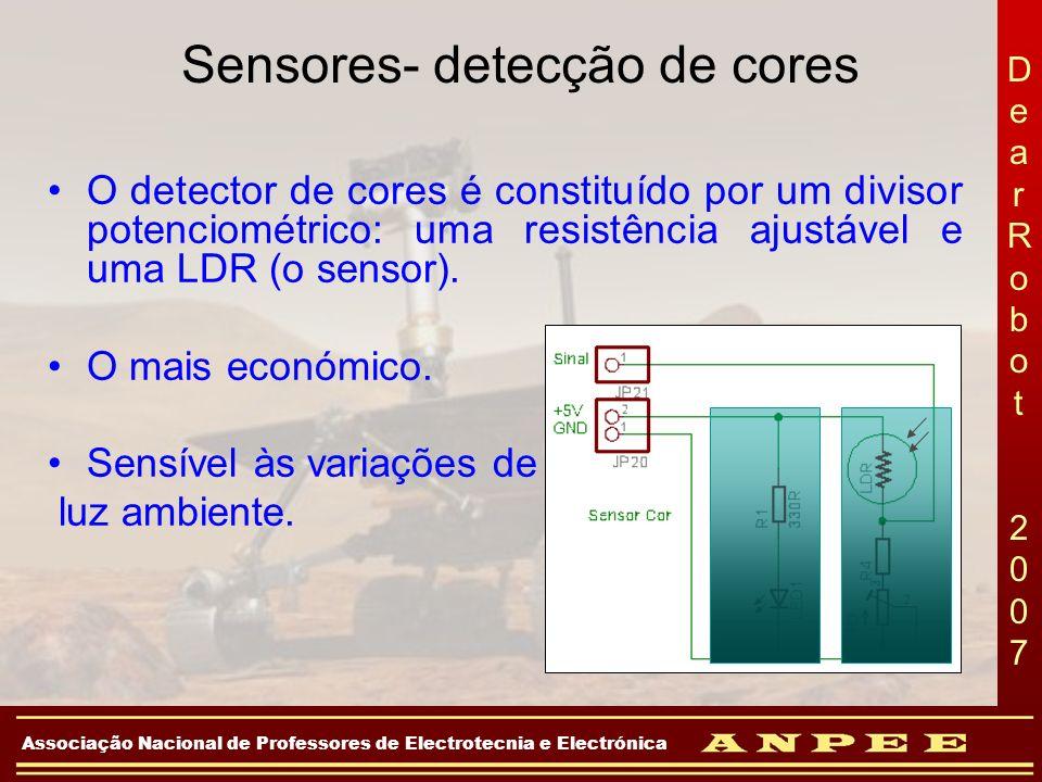 DearRobot 2007DearRobot 2007 Associação Nacional de Professores de Electrotecnia e Electrónica Sensores- detecção de cores O detector de cores é const